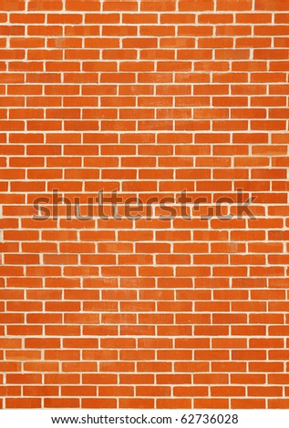 New brick wall, red texture - stock photo