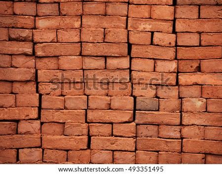 New bricks are stacked. Red brick. Background