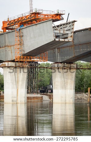 New brigde over Vistula river, Poland - stock photo