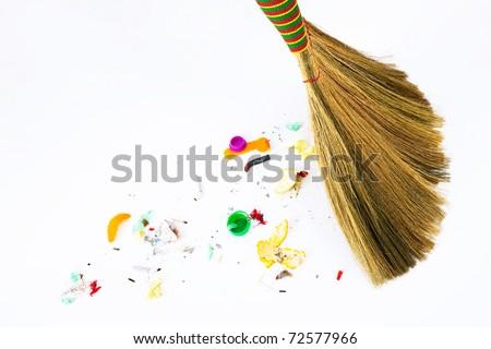 new broom sweeping - stock photo