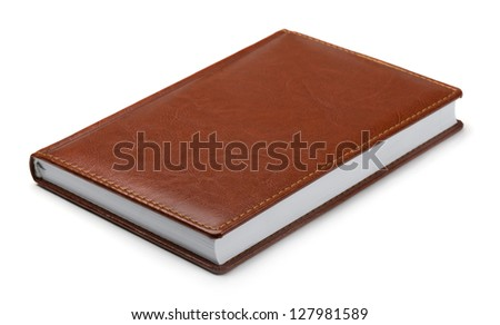New brown leather notebook isolated on white - stock photo