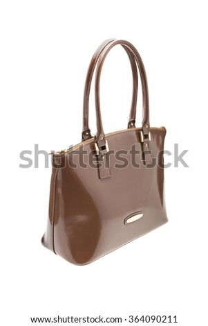 New Brown leather womens bag isolated on white background.
