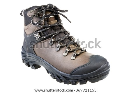 New brown waterproof hiking boot. Isolated on white - stock photo