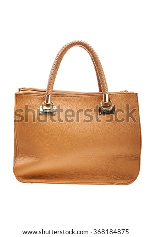 New brown womens bag isolated on white background.