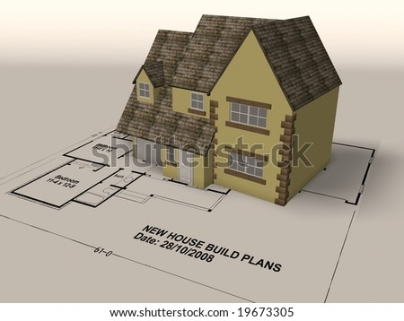 New build house on a set of architect plans