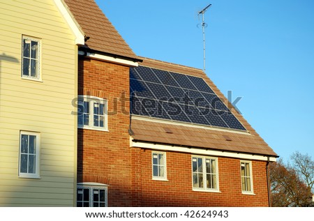 New build house with solar panels in the roof