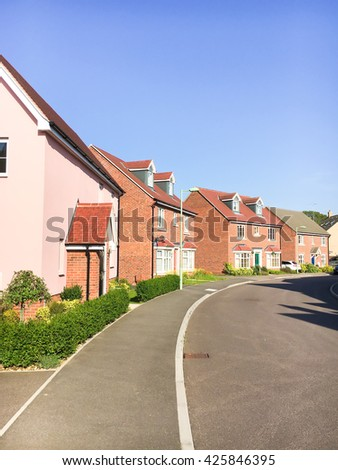 New build houses in Bury St Edmunds, UK