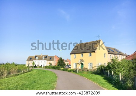 New build houses in Bury St Edmunds, UK - stock photo
