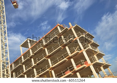 New Building Construction Hotel Condominium - stock photo