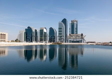 New buildings in Abu Dhabi City, United Arab Emirates - stock photo