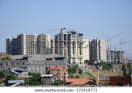 New buildings in Yerevan, Armenia - stock photo