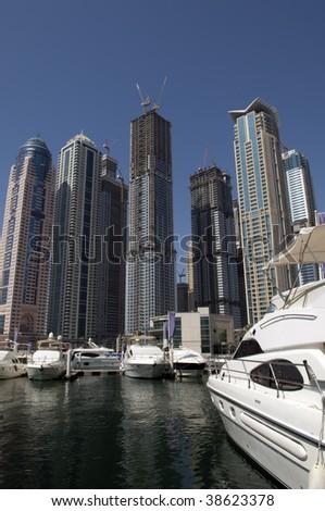 new built Dubai central marina - stock photo