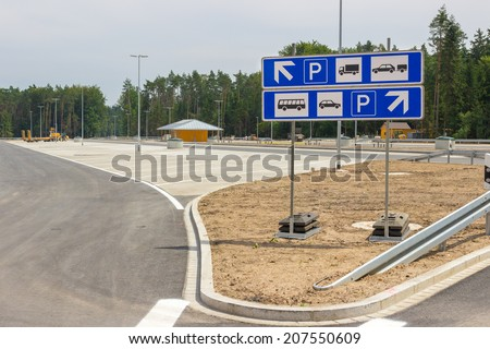 New built parking space at the highway
