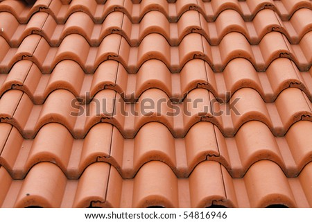 New bulgarian roof tiles close up detail - stock photo