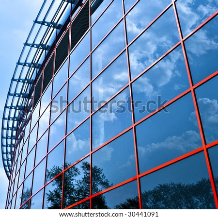 New business center windows reflictions, square composition - stock photo