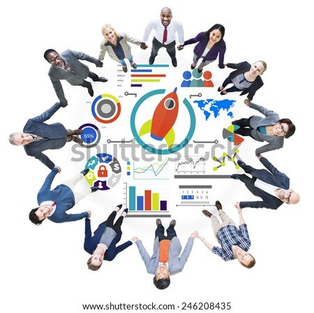 New Business Chart Innovation Teamwork Global Business Concept - stock photo