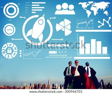 New Business Chart Innovation Teamwork Global Business Concept - stock photo