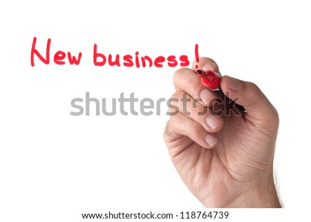 New business - hand writing on white board - stock photo