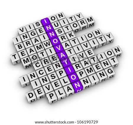New Business Innovation (cubes crossword series) - stock photo
