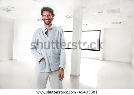 new business man in empty office