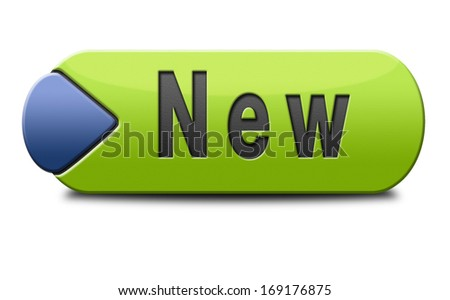New button or icon latest and newest brand of product available now - stock photo