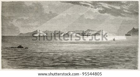 New Caledonia: Ouen isle and Woodin channel. Created by Moynet, published on Le Tour Du Monde, Paris, 1867 - stock photo
