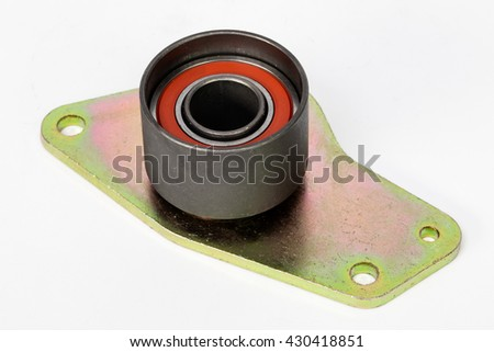 New Car belt tension roller isolated on white background