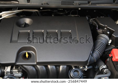 New car engine after checking and modifying in Garage - stock photo
