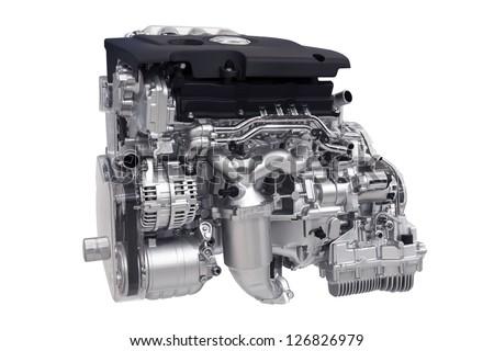 New Car Engine Isolated on White Background - stock photo