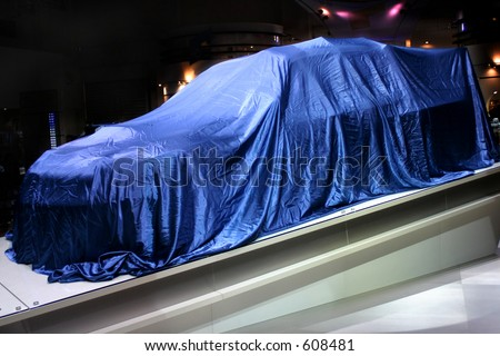 New car, just few moments before it was unveiled, Frankfurt International Motor Show - stock photo