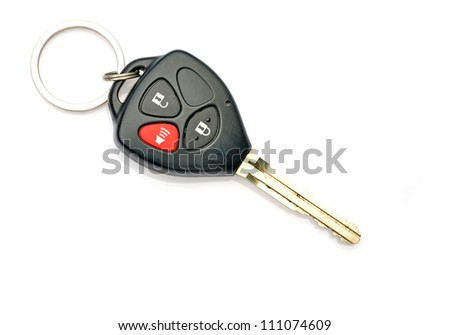New car key on white background - stock photo