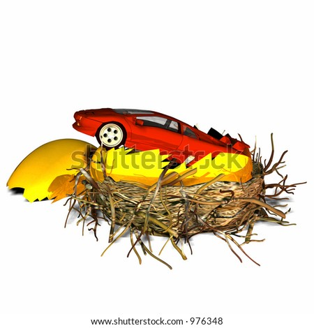 New car nest egg -- hatched egg with a new red car sticking out. - stock photo
