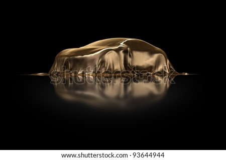 New Car Presentation golden drapery - stock photo