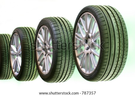 New car tires presentation - stock photo