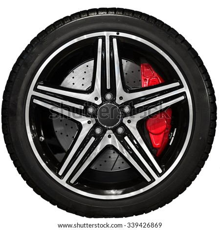 New car tyre closeup photo with detail - stock photo