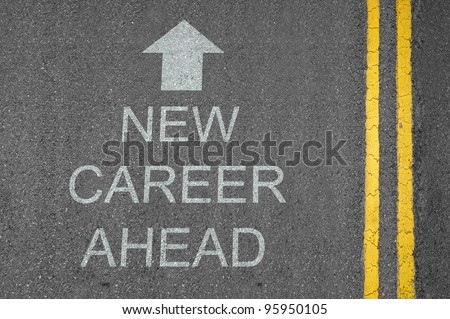 New Career Ahead concept road surface marking with arrow