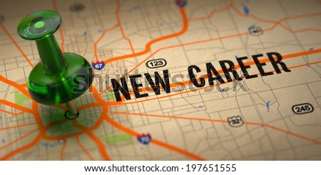 New Career Concept - Green Pushpin on a Map Background with Selective Focus. - stock photo