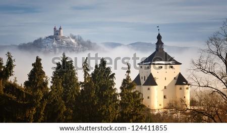 New castle and Calvary in Banska Stiavnica, Slovakia UNESCO - stock photo