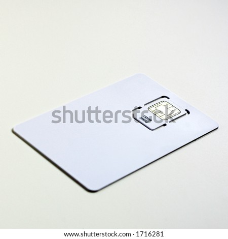 New cell phone sim card packaged in blank 'credit card'. - stock photo