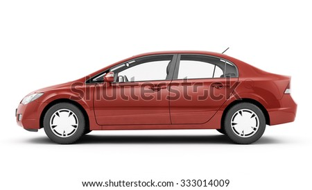New CG 3d render of generic luxury red detail car illustration isolated on a white background - stock photo