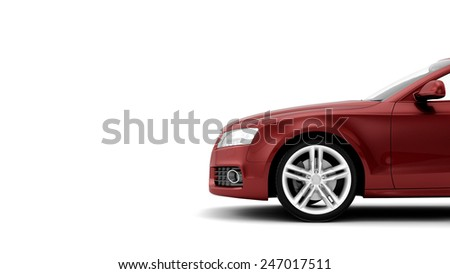 New CG 3d render of generic luxury red detail sports car illustration isolated on a white background - stock photo