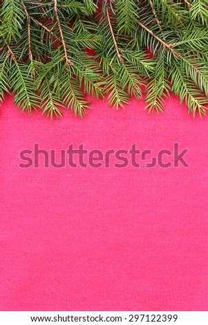 New Christmas background with real pine tree branches - stock photo