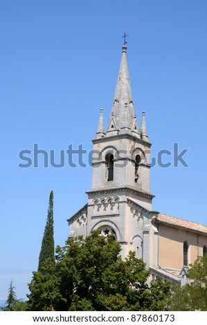 New Church - Eglise Neuve - from 1870 in Bonnieux town, Vaucluse department in Provence, France