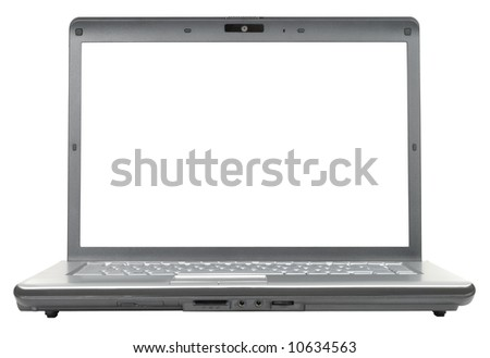 New classic gray laptop isolated with clipping path over white background - stock photo