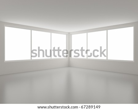New clean interior, corner and windows, clipping path for windows included - stock photo