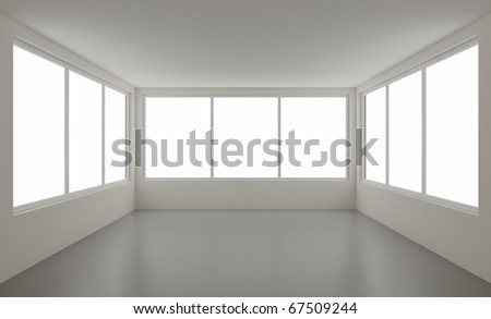 New clean interior, with clipping path for windows, 3d illustration - stock photo