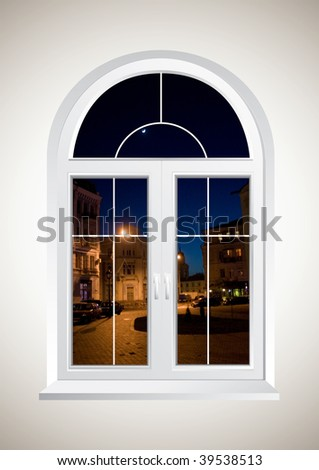 New closed plastic glass window frame - stock photo