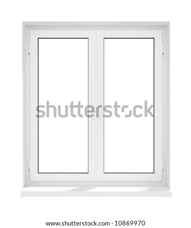 new closed plastic glass window frame isolated on the white background 3d model illustration - stock photo