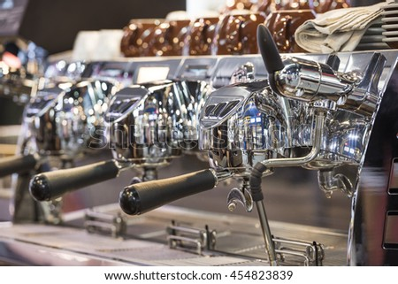 new coffee machine reflect and shiny - stock photo