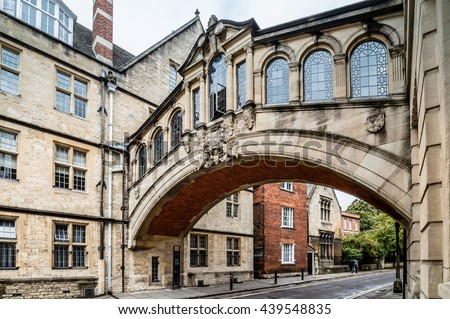 New College Lane and Bridge of Sighs in Oxford with no people. The city is known as the home of the University of Oxford, the oldest university in the English speaking world. - stock photo